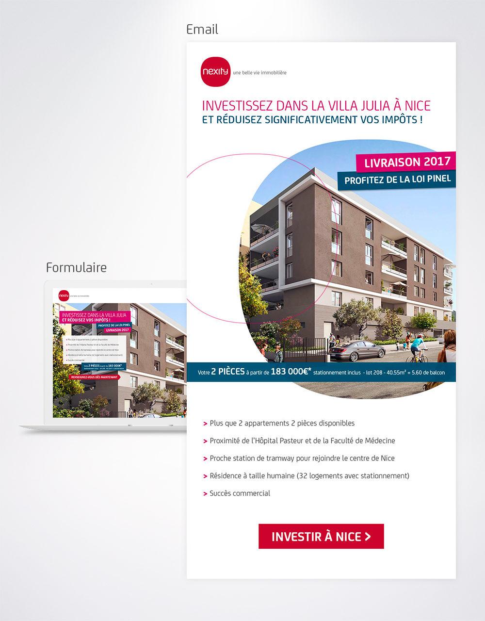 Email et formulaire promotion de programme immobilier Nexity